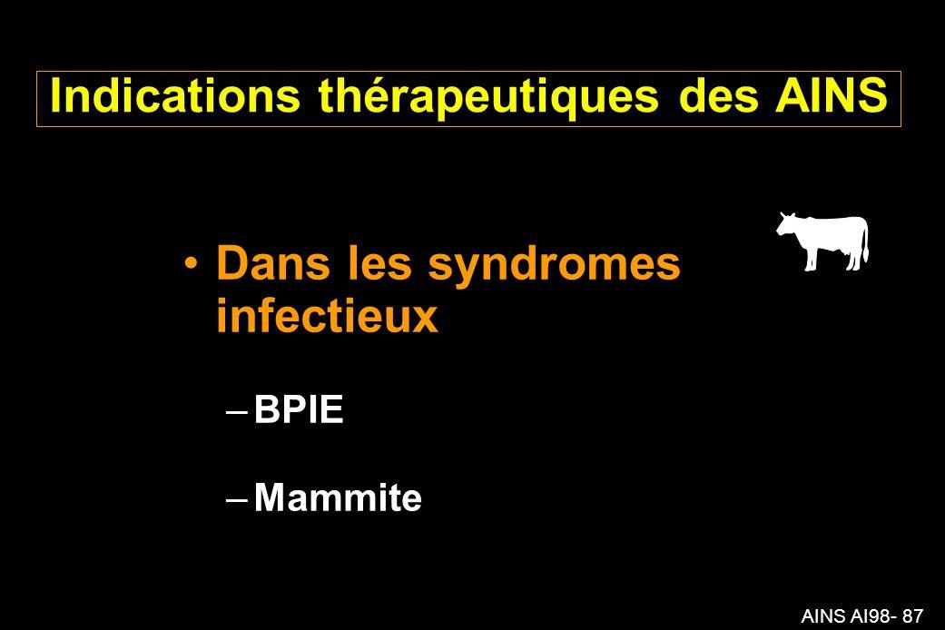 AINS AI98- 87 Indications thérapeutiques des AINS Dans les syndromes infectieux –BPIE –Mammite