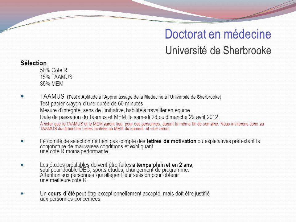 Doctorat en médecine Université de Sherbrooke Places disponibles: 2011 Pour les collégiens 1210demandes dadmission 692invités à la sélection Sher: 111personnes inscrites (450e sur la liste dattente) Sag.
