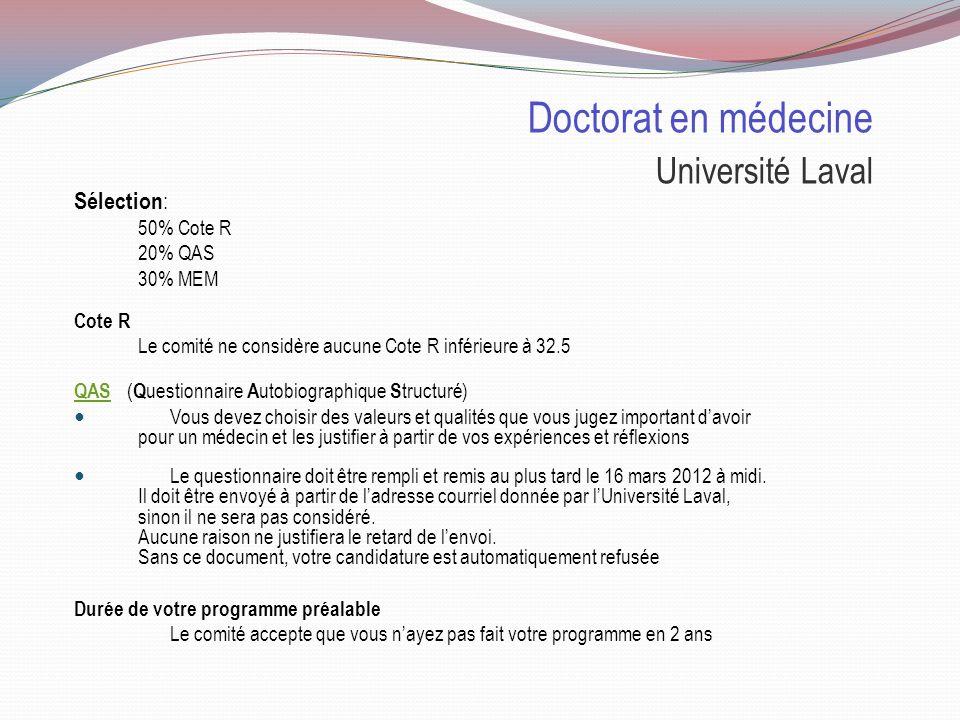 Doctorat en médecine Université Laval Places disponibles : 2011 Pour les collégiens 2113 demandes dadmission 410invités à la sélection 228personnes inscrites 2012 Nombre de places 199places, dont 55% pour les collégiens