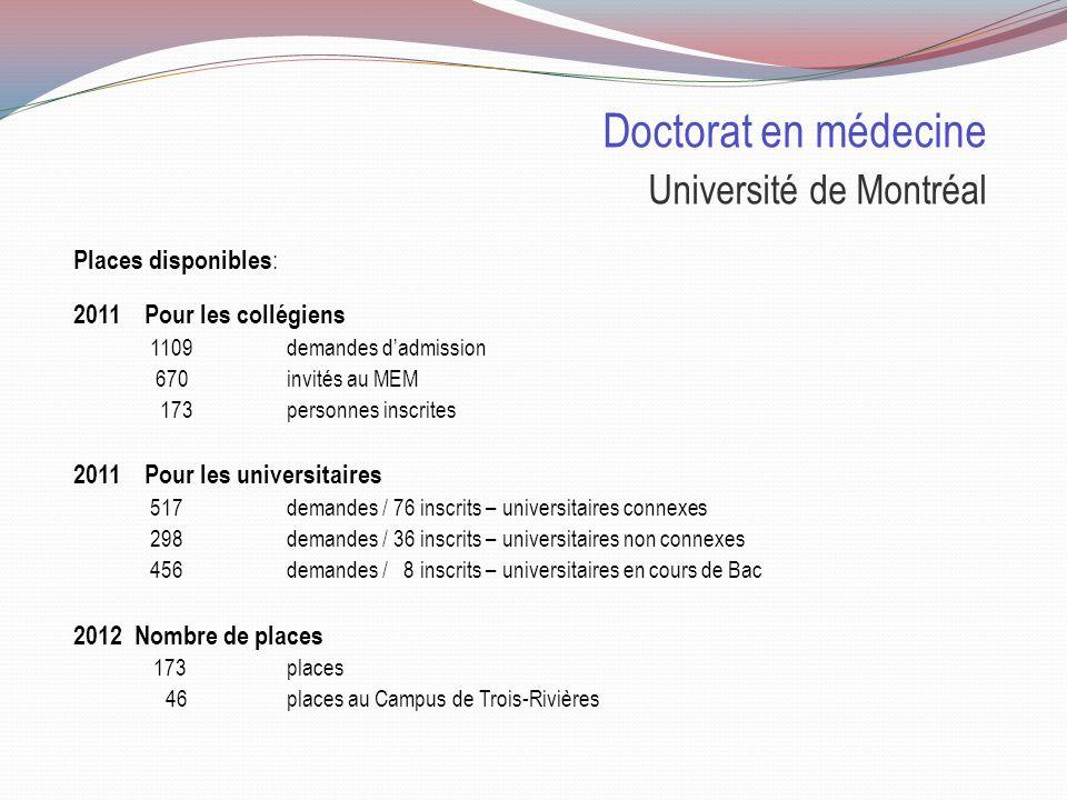 Doctorat en médecine Université Laval Particularités : Magistral à 60% Profil international et recherche Possibilités daménager son horaire sur 5 ans.