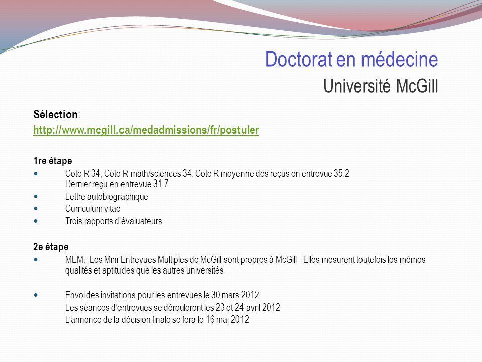 Doctorat en médecine Université McGill Places disponibles : 2012 Nombre de places 182 places, dont 85 pour les collégiens 81 pour les universitaires