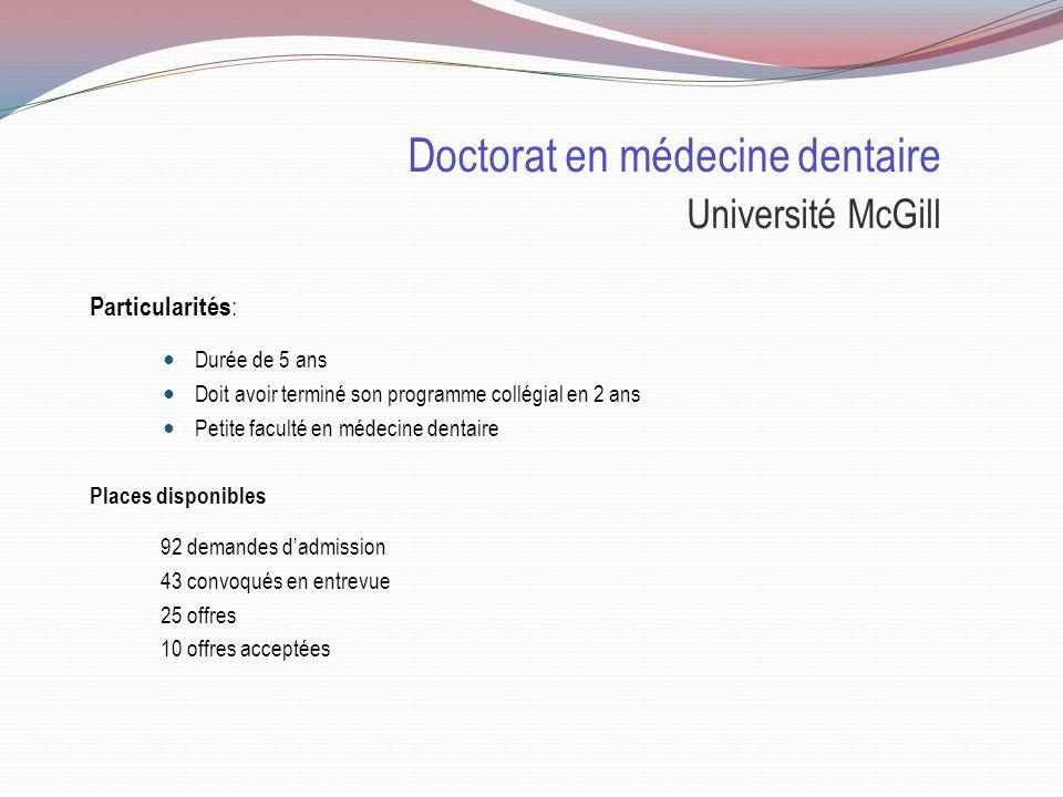 Doctorat en médecine dentaire Université McGill Sélection : 50% Cote R 50% Entrevue Cote R globale et cote R sciences/math doivent être de 33.4 TAED Pas obligatoire Deux lettres de recommandation Lettre autobiographique de trois pages Entrevue Appelé pour les entrevues à partir de la mi-mars