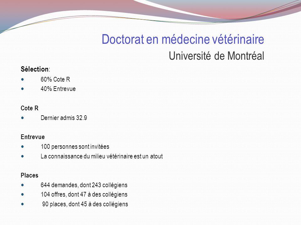 Doctorat en médecine vétérinaire Sélection Université de Montréal Cote R 32.9 60% EntrevueX 40%