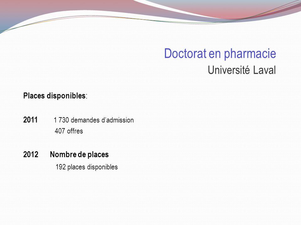 Doctorat en pharmacie Sélection Université LavalUniversité de Montréal Durée 4 ans ( 16 crédits/session ) 4 ans ( 9 sessions ) Cote R 33.04 75% 33.6 8