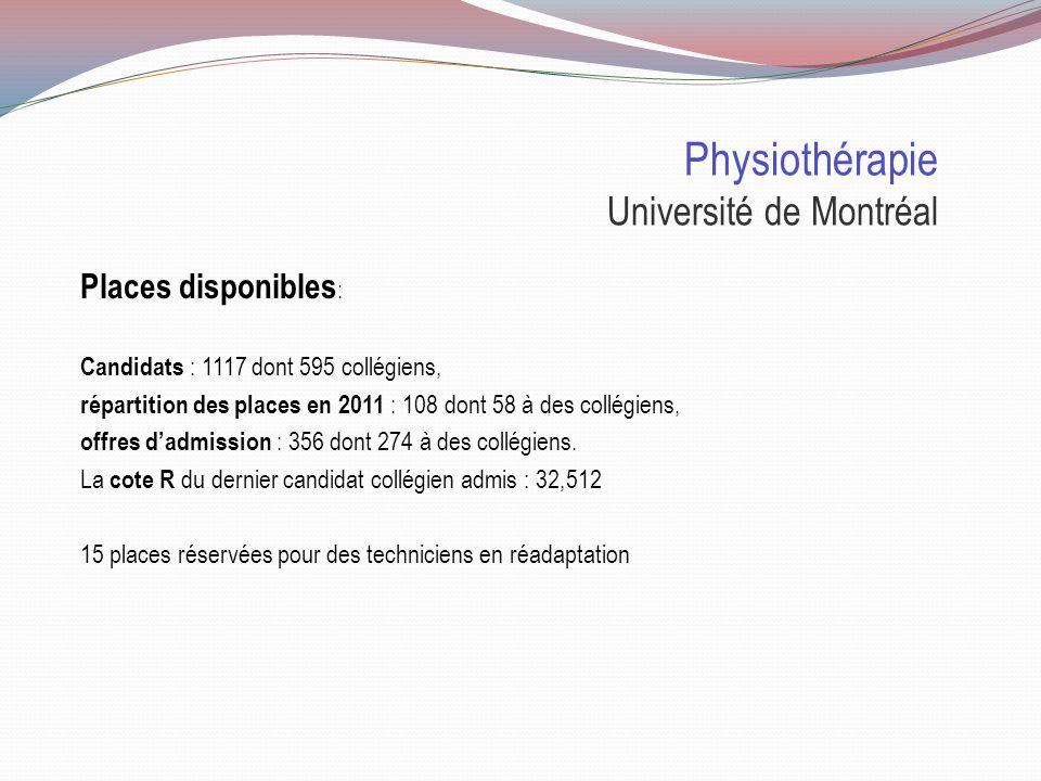 Physiothérapie Université Laval Places disponibles : 2011 856 demandes dadmission 178 offres 95 places 2011 50 collégiens inscrits 30 universitaires inscrits 10 TRP 5 Nouveau-Brunswick