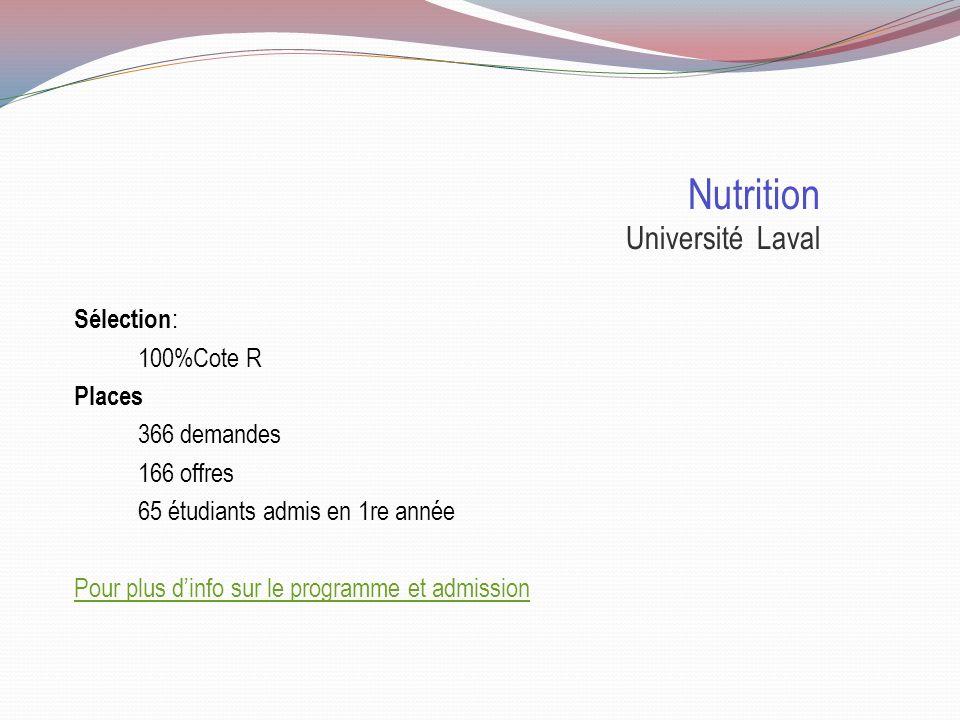 Doctorat en nutrition Sélection Université LavalUniversité de Montréal Université de Moncton Durée31/2 ans 5 ans Cote R 31.837 100% 29.813 100% Pas contingenté la première année