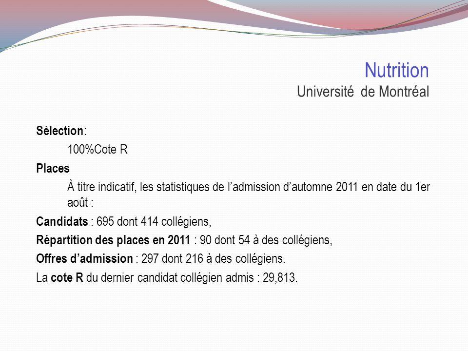 Nutrition Université Laval Sélection : 100%Cote R Places 366 demandes 166 offres 65 étudiants admis en 1re année Pour plus dinfo sur le programme et a