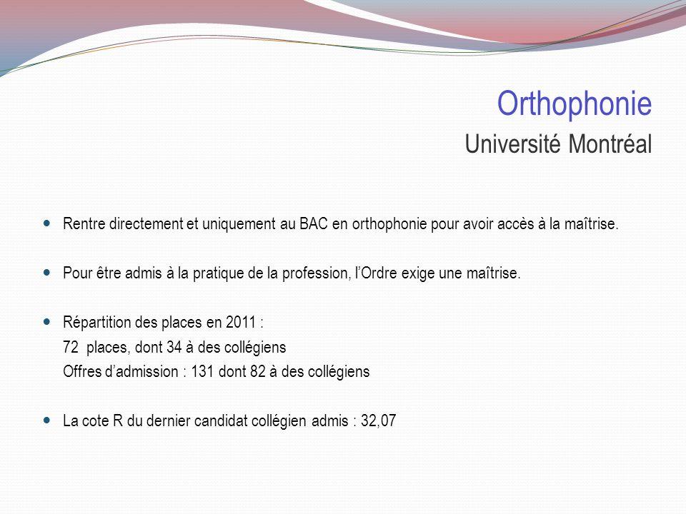Orthophonie Université Laval Deux types de candidatures sont possibles pour l'admission au programme en maîtrise : 1)Le candidat remplit toutes les ex