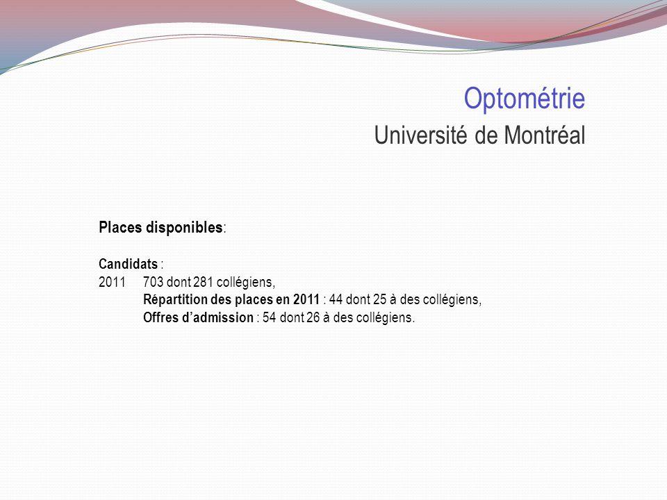 Doctorat en optométrie Sélection Université de Montréal Durée 5 ans Cote R 33.05 Entrevue X Curriculum vitae X