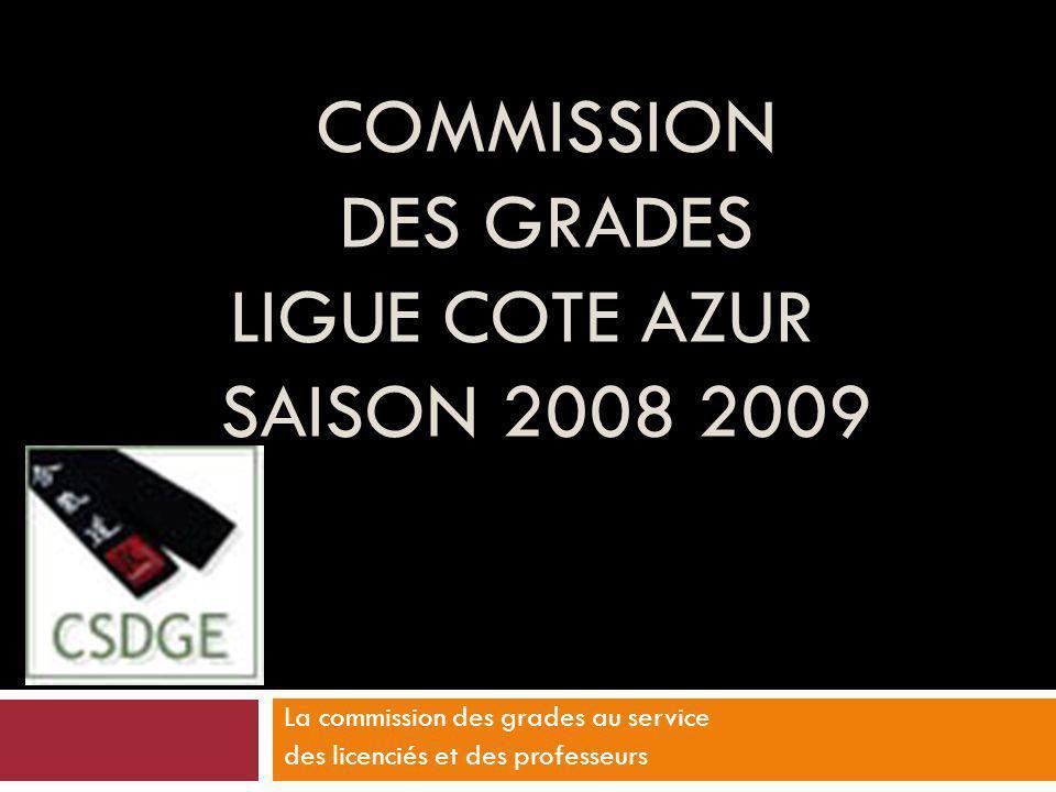 COMMISSION DES GRADES LIGUE COTE AZUR SAISON 2008 2009 La commission des grades au service des licenciés et des professeurs
