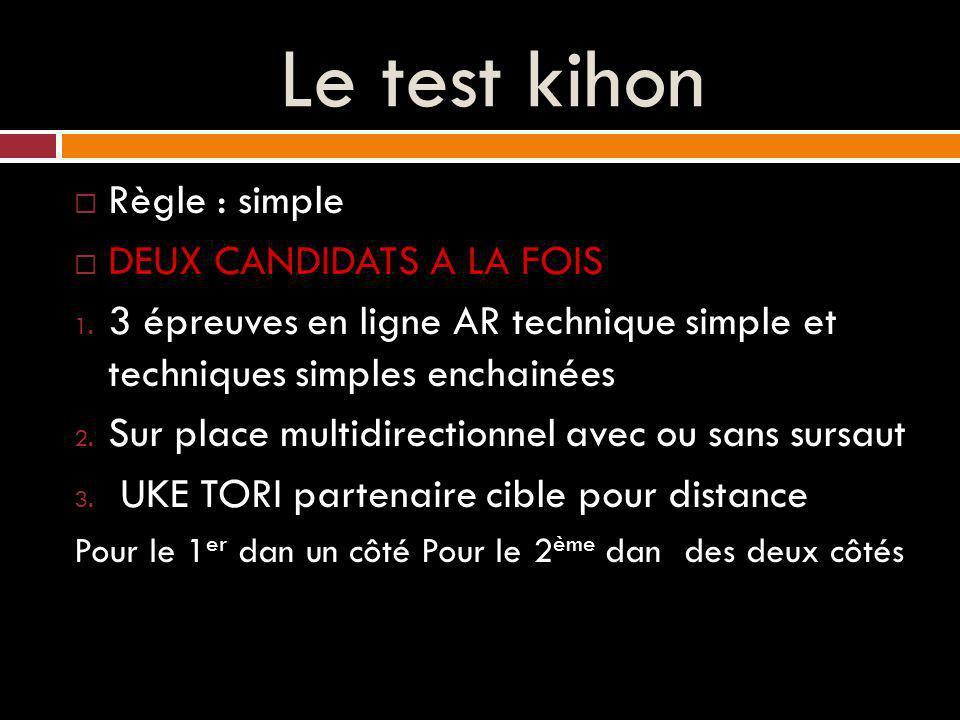 Le test kihon Règle : simple DEUX CANDIDATS A LA FOIS 1.