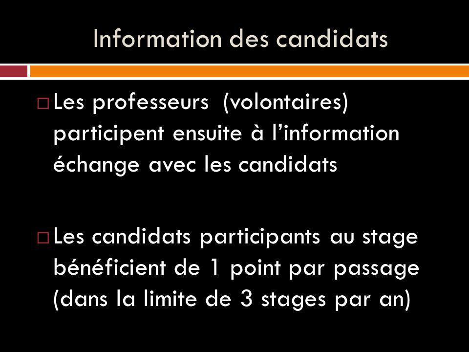 Information des candidats Les professeurs (volontaires) participent ensuite à linformation échange avec les candidats Les candidats participants au stage bénéficient de 1 point par passage (dans la limite de 3 stages par an)