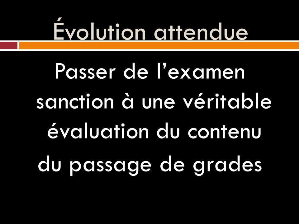 Évolution attendue Passer de lexamen sanction à une véritable évaluation du contenu du passage de grades