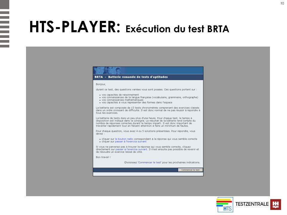 10 HTS-PLAYER: Exécution du test BRTA