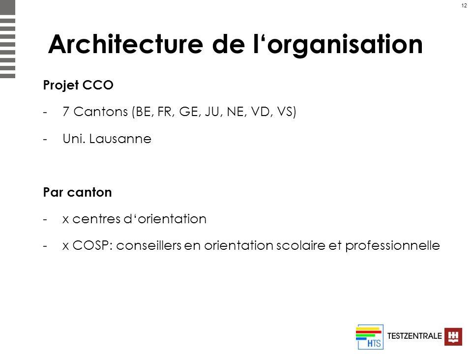 12 Architecture de lorganisation Projet CCO -7 Cantons (BE, FR, GE, JU, NE, VD, VS) -Uni. Lausanne Par canton -x centres dorientation -x COSP: conseil