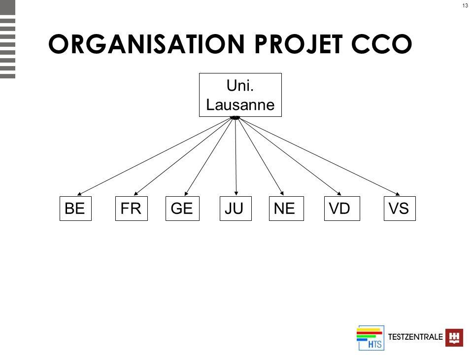 13 ORGANISATION PROJET CCO Uni. Lausanne BEFRGEJUNEVDVS