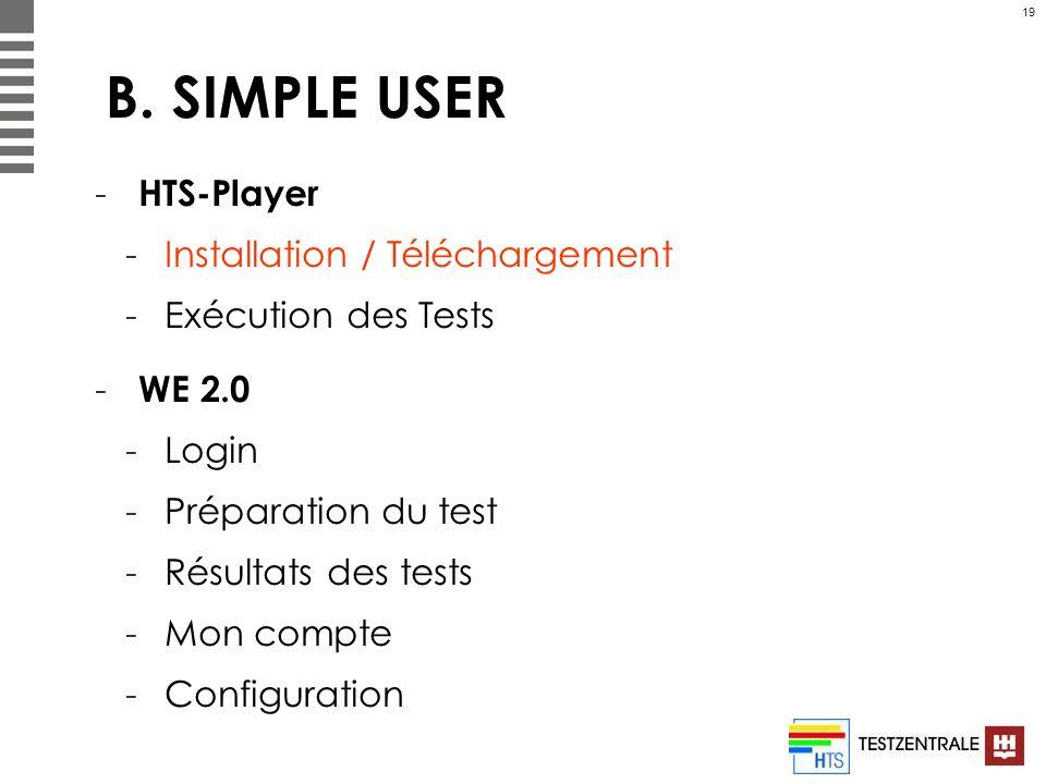 19 B. SIMPLE USER - HTS-Player -Installation / Téléchargement -Exécution des Tests - WE 2.0 -Login -Préparation du test -Résultats des tests -Mon comp