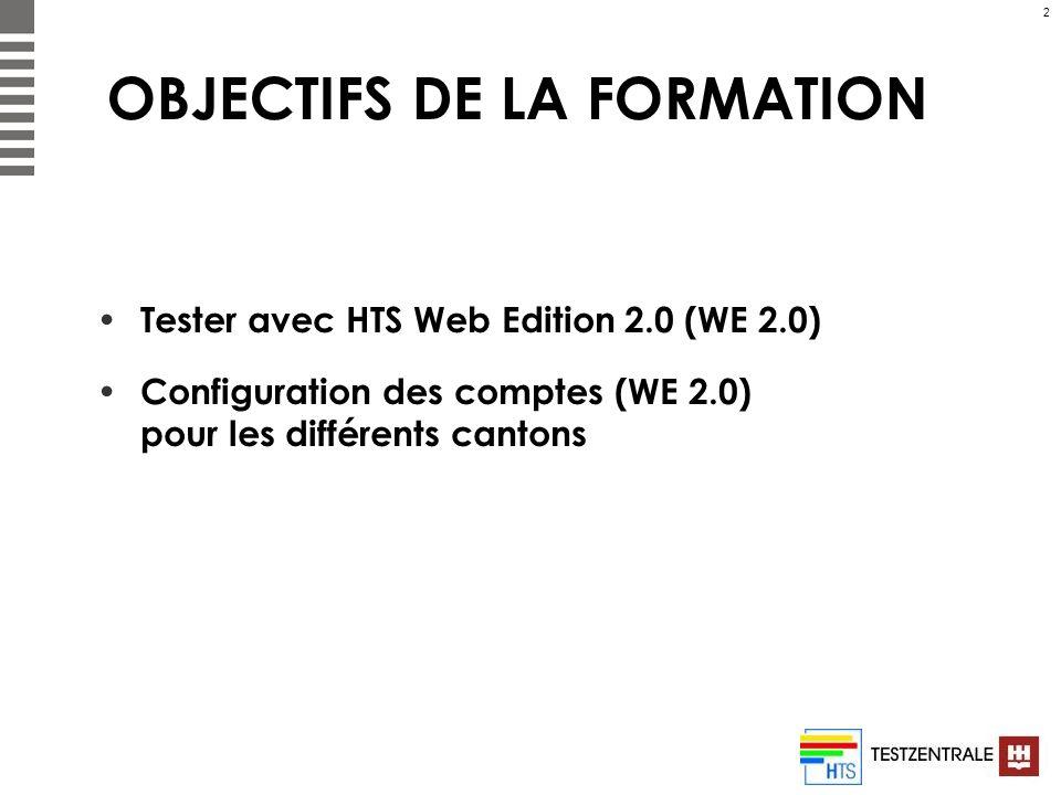 2 OBJECTIFS DE LA FORMATION Tester avec HTS Web Edition 2.0 (WE 2.0) Configuration des comptes (WE 2.0) pour les différents cantons