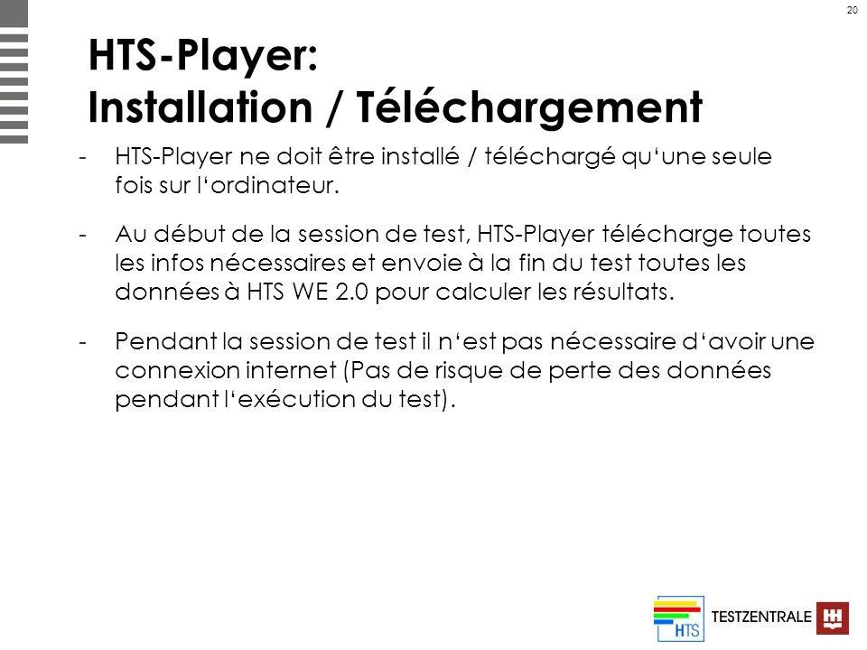 20 HTS-Player: Installation / Téléchargement -HTS-Player ne doit être installé / téléchargé quune seule fois sur lordinateur. -Au début de la session