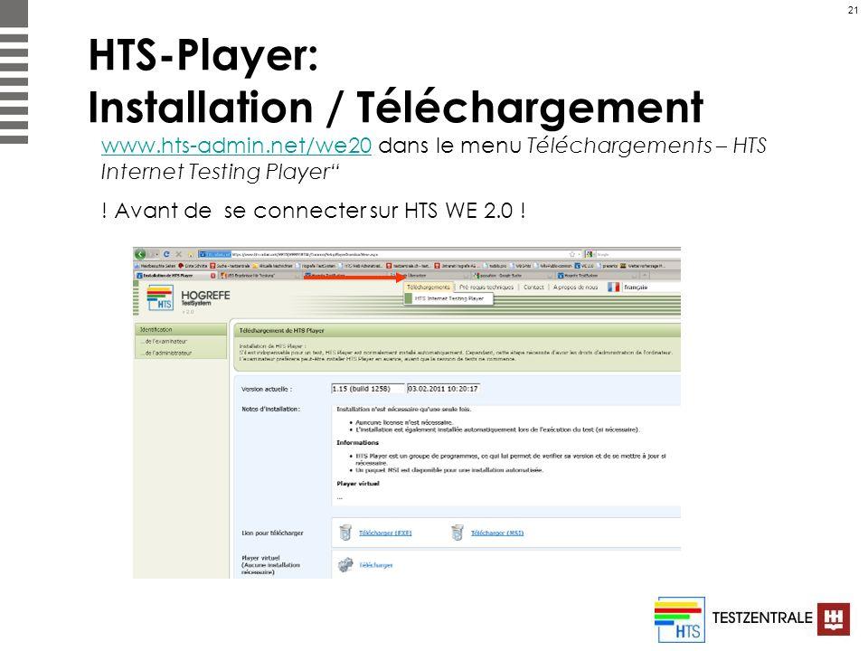 21 HTS-Player: Installation / Téléchargement www.hts-admin.net/we20www.hts-admin.net/we20 dans le menu Téléchargements – HTS Internet Testing Player !