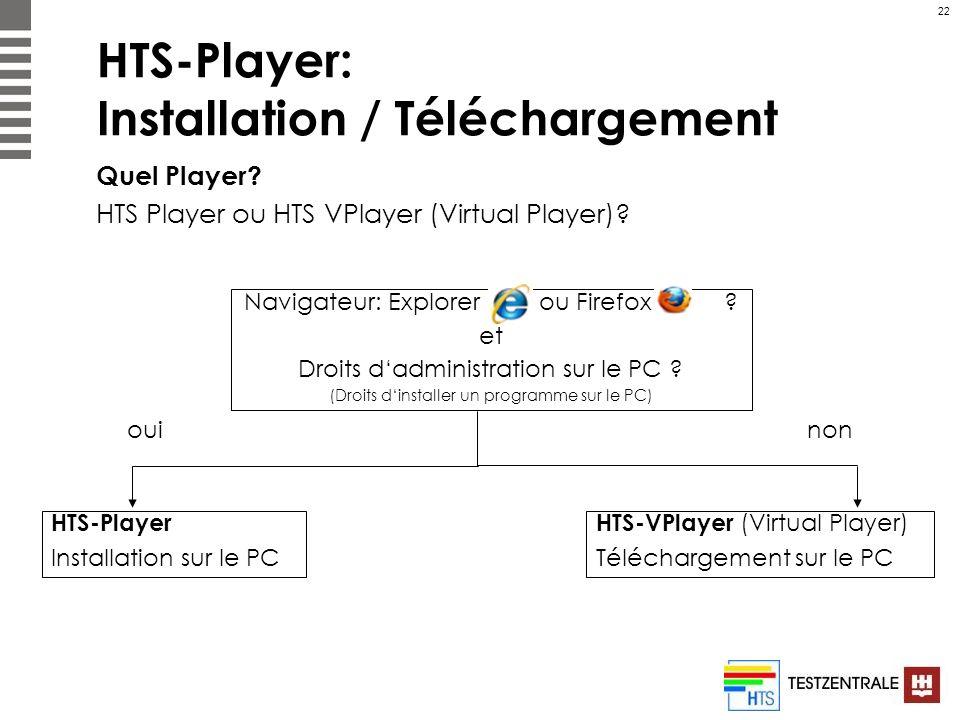 22 HTS-Player: Installation / Téléchargement Quel Player? HTS Player ou HTS VPlayer (Virtual Player)? Navigateur: Explorer ou Firefox ? et Droits dadm