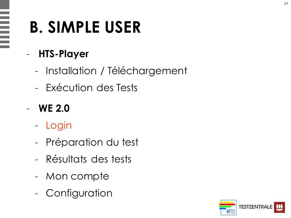 24 B. SIMPLE USER - HTS-Player -Installation / Téléchargement -Exécution des Tests - WE 2.0 -Login -Préparation du test -Résultats des tests -Mon comp