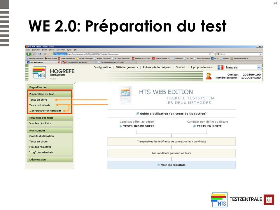 28 WE 2.0: Préparation du test