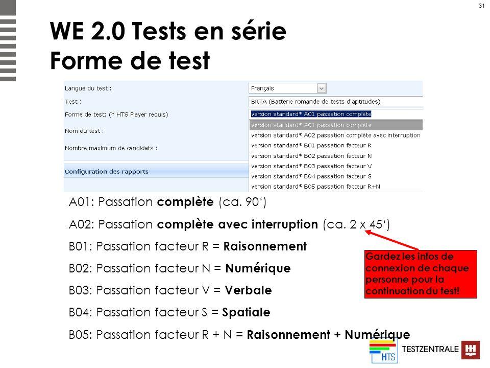31 WE 2.0 Tests en série Forme de test A01: Passation complète (ca. 90) A02: Passation complète avec interruption (ca. 2 x 45) B01: Passation facteur
