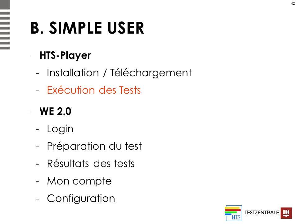 42 B. SIMPLE USER - HTS-Player -Installation / Téléchargement -Exécution des Tests - WE 2.0 -Login -Préparation du test -Résultats des tests -Mon comp