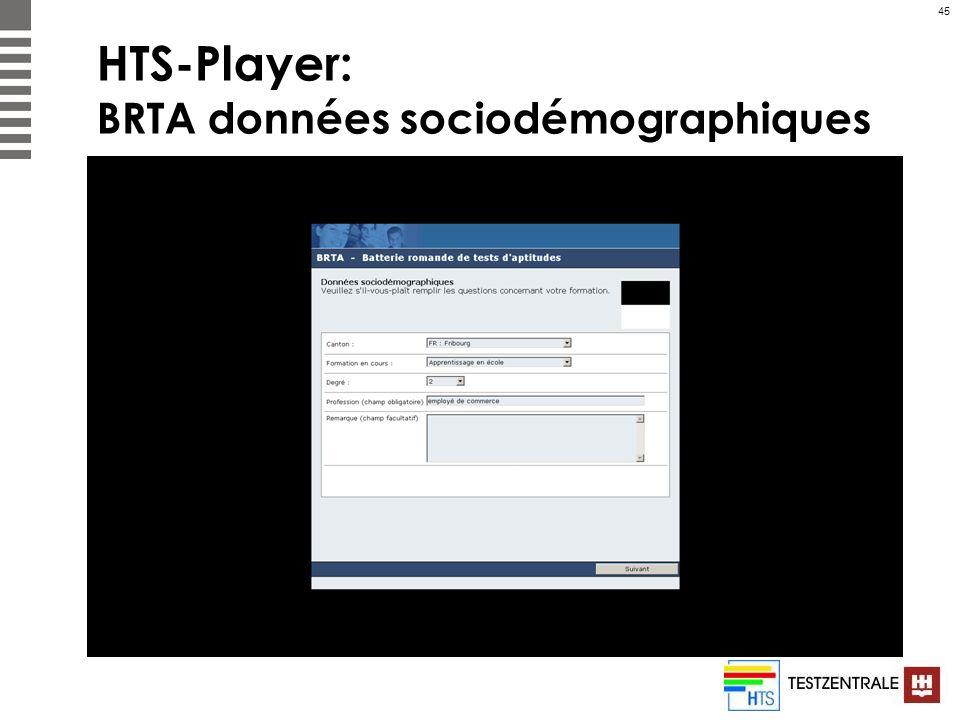 45 HTS-Player: BRTA données sociodémographiques