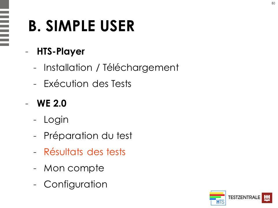 50 B. SIMPLE USER - HTS-Player -Installation / Téléchargement -Exécution des Tests - WE 2.0 -Login -Préparation du test -Résultats des tests -Mon comp