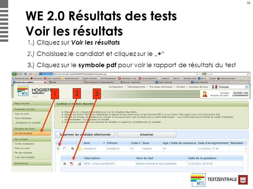 52 WE 2.0 Résultats des tests Voir les résultats 1.) Cliquez sur Voir les résultats 2.) Choisissez le candidat et cliquez sur le + 3.) Cliquez sur le