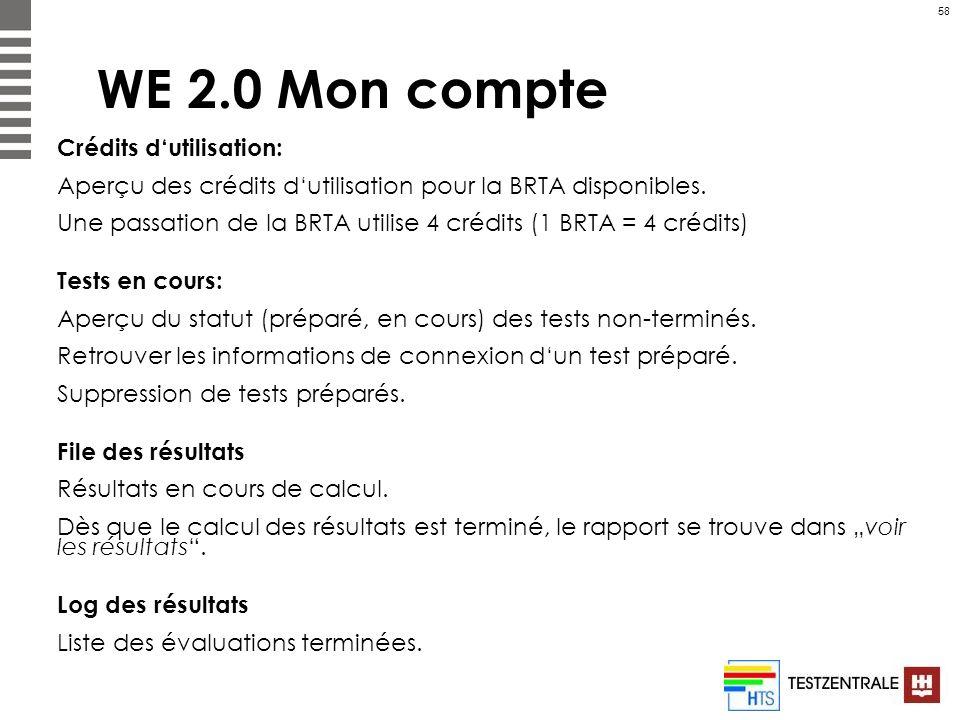 58 WE 2.0 Mon compte Crédits dutilisation: Aperçu des crédits dutilisation pour la BRTA disponibles. Une passation de la BRTA utilise 4 crédits (1 BRT