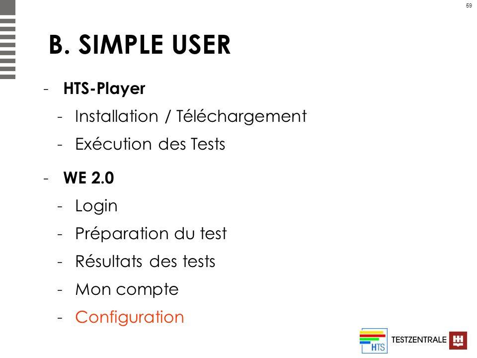 59 B. SIMPLE USER - HTS-Player -Installation / Téléchargement -Exécution des Tests - WE 2.0 -Login -Préparation du test -Résultats des tests -Mon comp