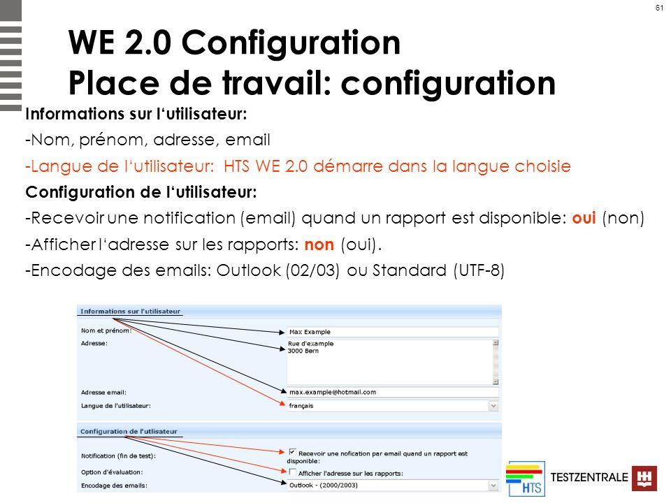 61 WE 2.0 Configuration Place de travail: configuration Informations sur lutilisateur: -Nom, prénom, adresse, email -Langue de lutilisateur: HTS WE 2.