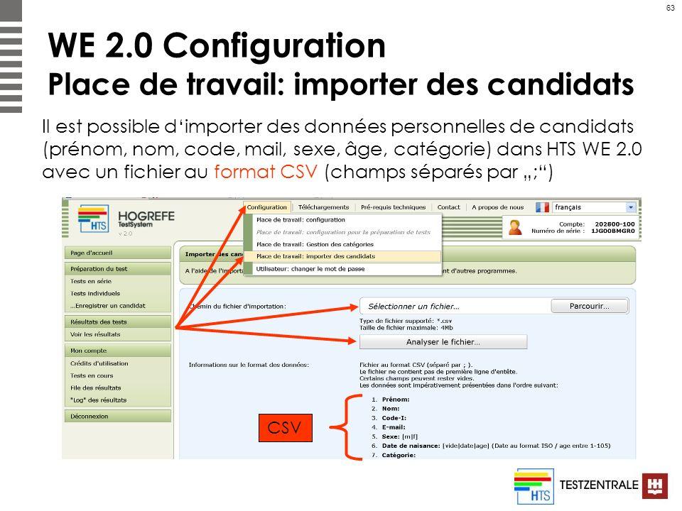 63 WE 2.0 Configuration Place de travail: importer des candidats Il est possible dimporter des données personnelles de candidats (prénom, nom, code, m