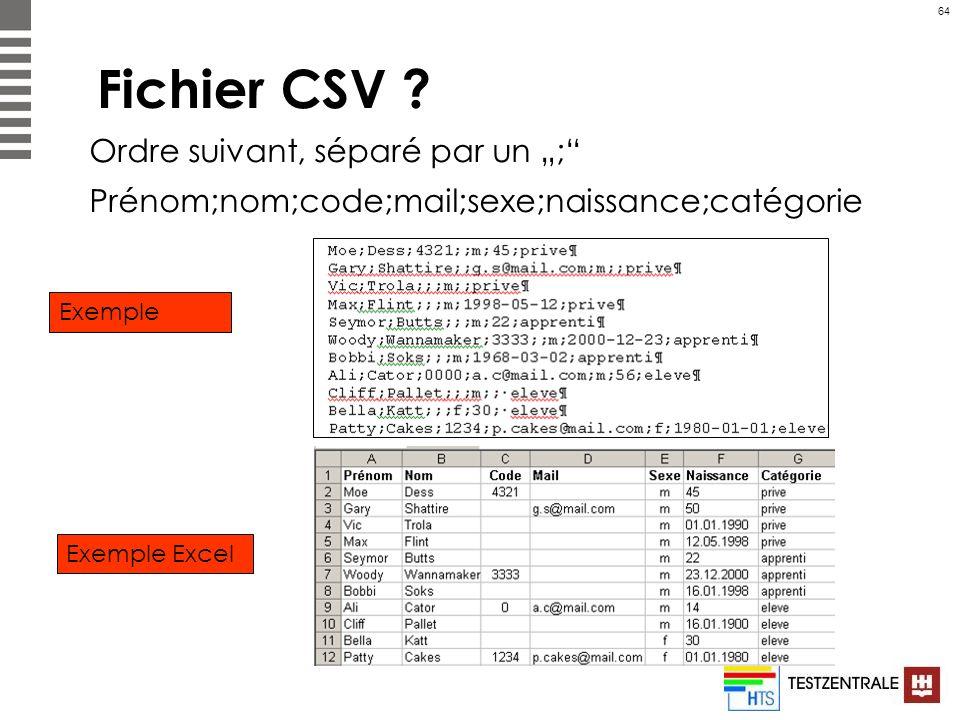 64 Fichier CSV ? Ordre suivant, séparé par un ; Prénom;nom;code;mail;sexe;naissance;catégorie Exemple Exemple Excel