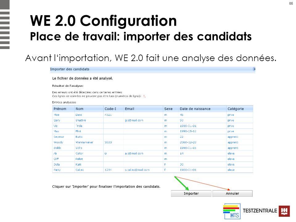 65 WE 2.0 Configuration Place de travail: importer des candidats Avant limportation, WE 2.0 fait une analyse des données.