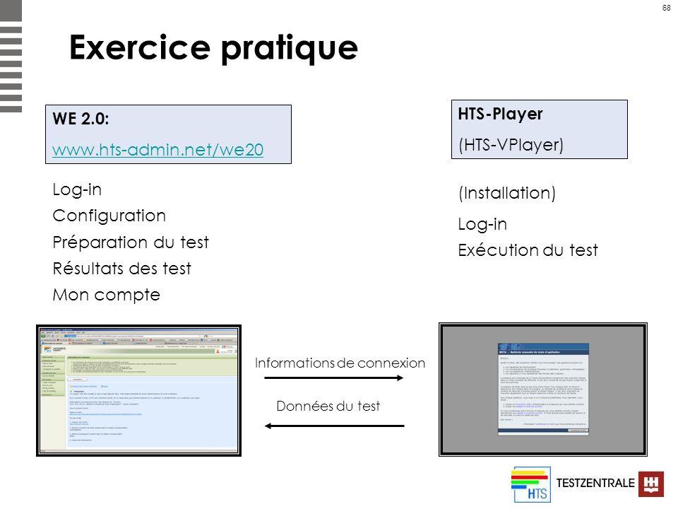 68 Exercice pratique WE 2.0: www.hts-admin.net/we20 HTS-Player (HTS-VPlayer) Log-in Configuration Préparation du test Résultats des test Mon compte (I