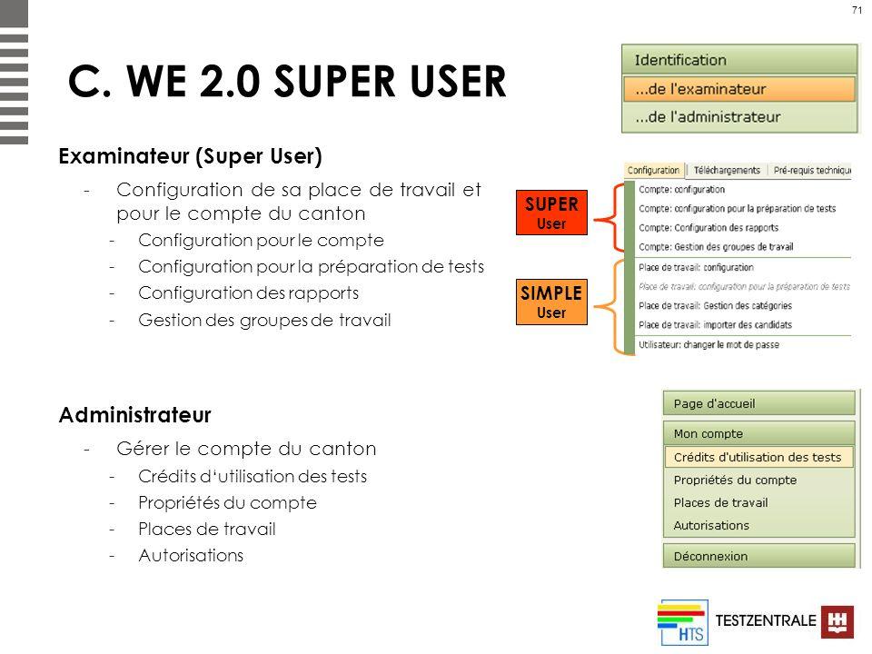 71 C. WE 2.0 SUPER USER Examinateur (Super User) -Configuration de sa place de travail et pour le compte du canton -Configuration pour le compte -Conf