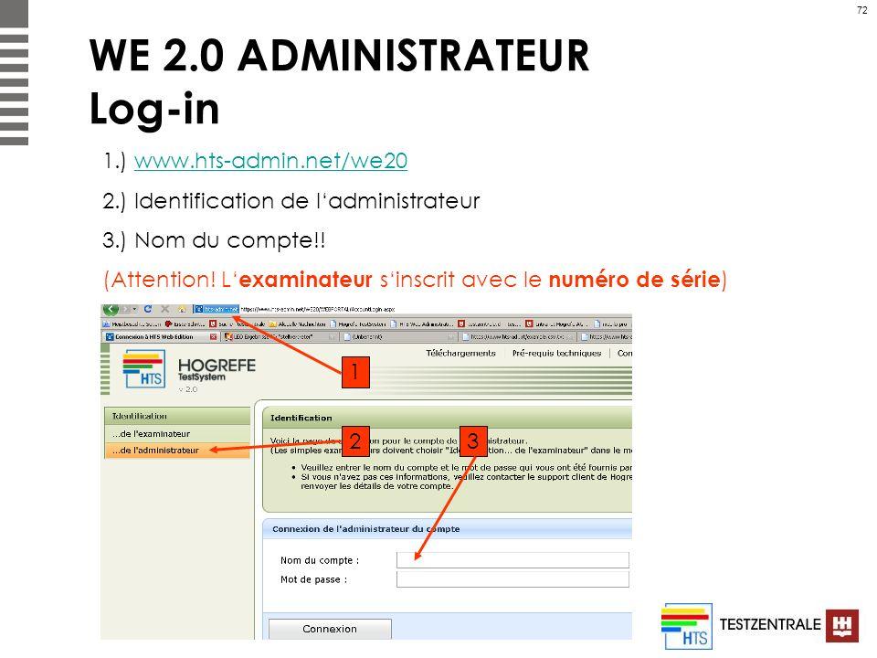 72 WE 2.0 ADMINISTRATEUR Log-in 1.) www.hts-admin.net/we20www.hts-admin.net/we20 2.) Identification de ladministrateur 3.) Nom du compte!! (Attention!
