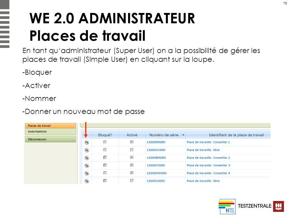75 WE 2.0 ADMINISTRATEUR Places de travail En tant quadministrateur (Super User) on a la possibilité de gérer les places de travail (Simple User) en c