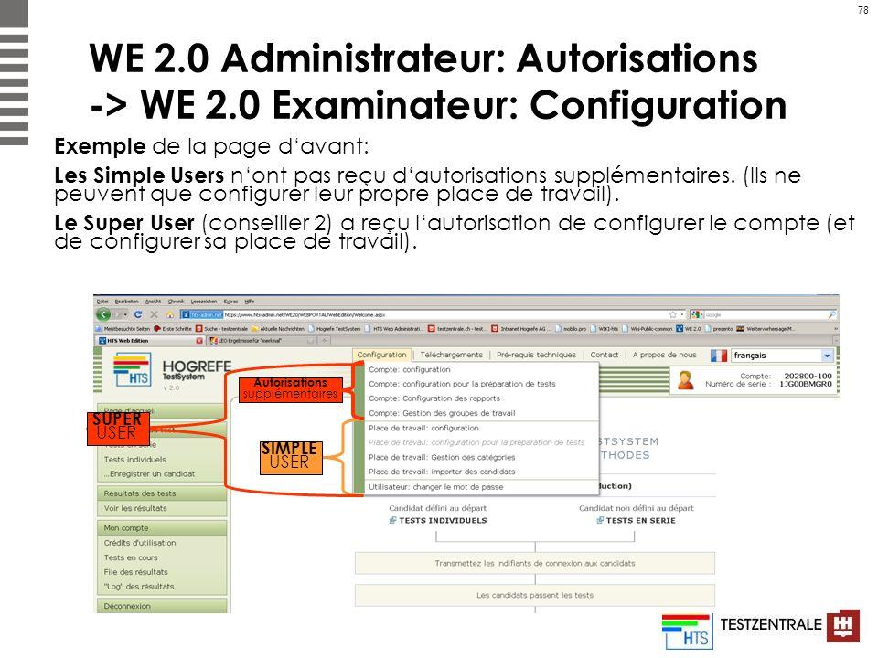 78 WE 2.0 Administrateur: Autorisations -> WE 2.0 Examinateur: Configuration Exemple de la page davant: Les Simple Users nont pas reçu dautorisations