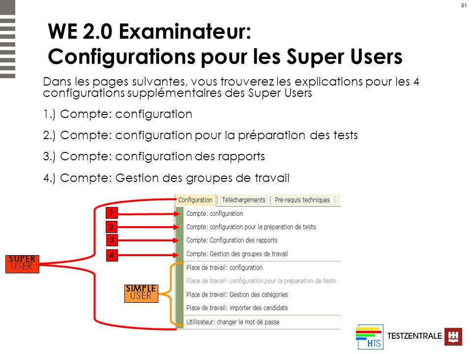 81 WE 2.0 Examinateur: Configurations pour les Super Users Dans les pages suivantes, vous trouverez les explications pour les 4 configurations supplém