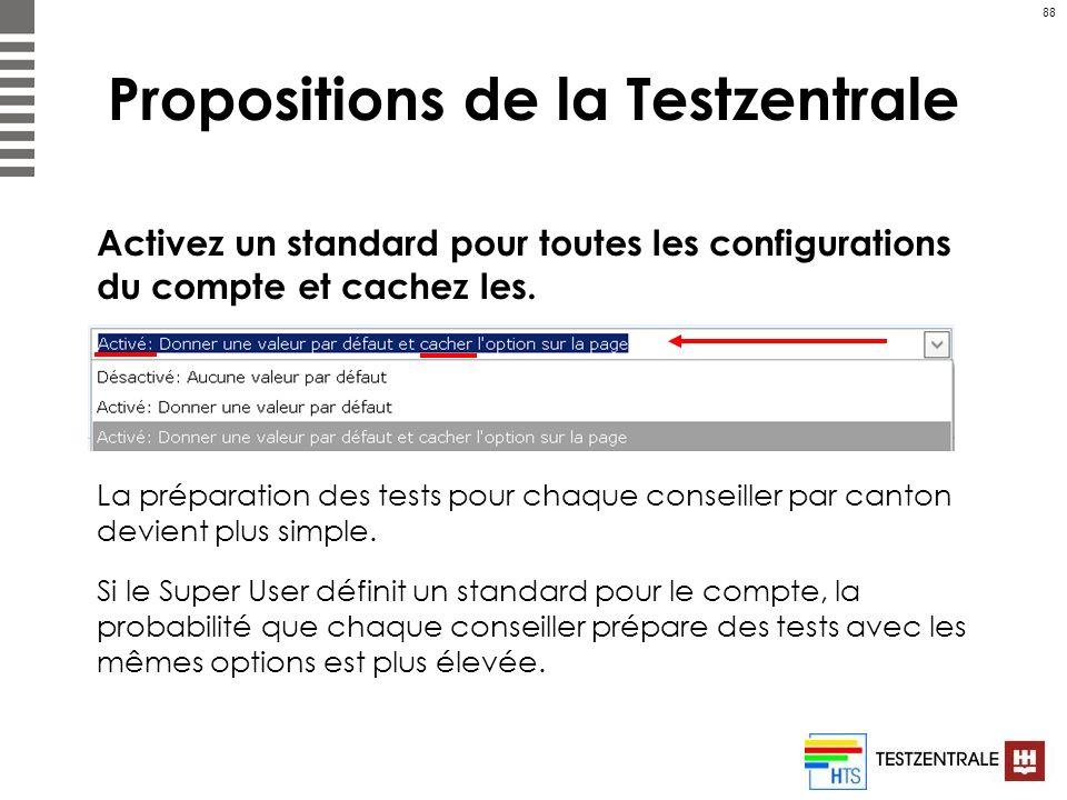 88 Propositions de la Testzentrale Activez un standard pour toutes les configurations du compte et cachez les. La préparation des tests pour chaque co