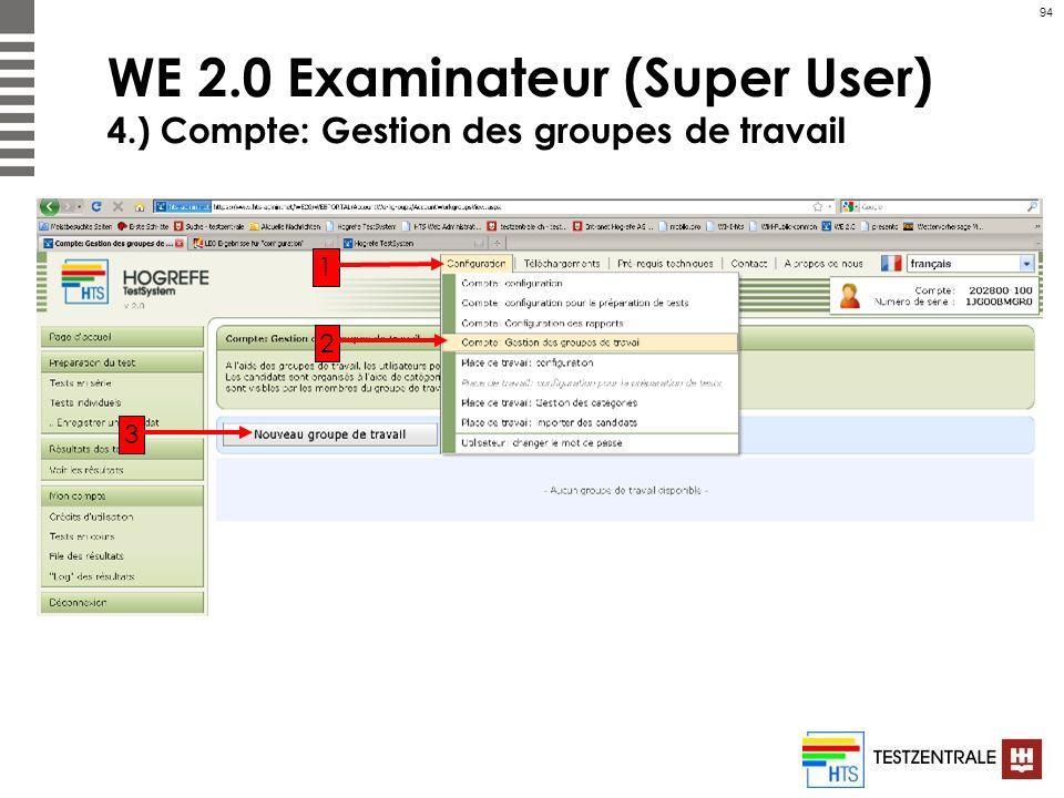 94 WE 2.0 Examinateur (Super User) 4.) Compte: Gestion des groupes de travail 1 2 3