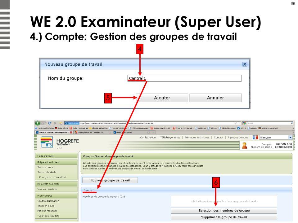 95 WE 2.0 Examinateur (Super User) 4.) Compte: Gestion des groupes de travail 4 5 6