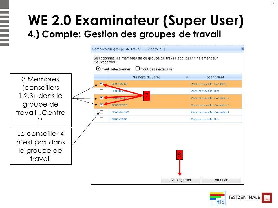 96 WE 2.0 Examinateur (Super User) 4.) Compte: Gestion des groupes de travail 3 Membres (conseillers 1,2,3) dans le groupe de travail Centre 1 7 8 Le