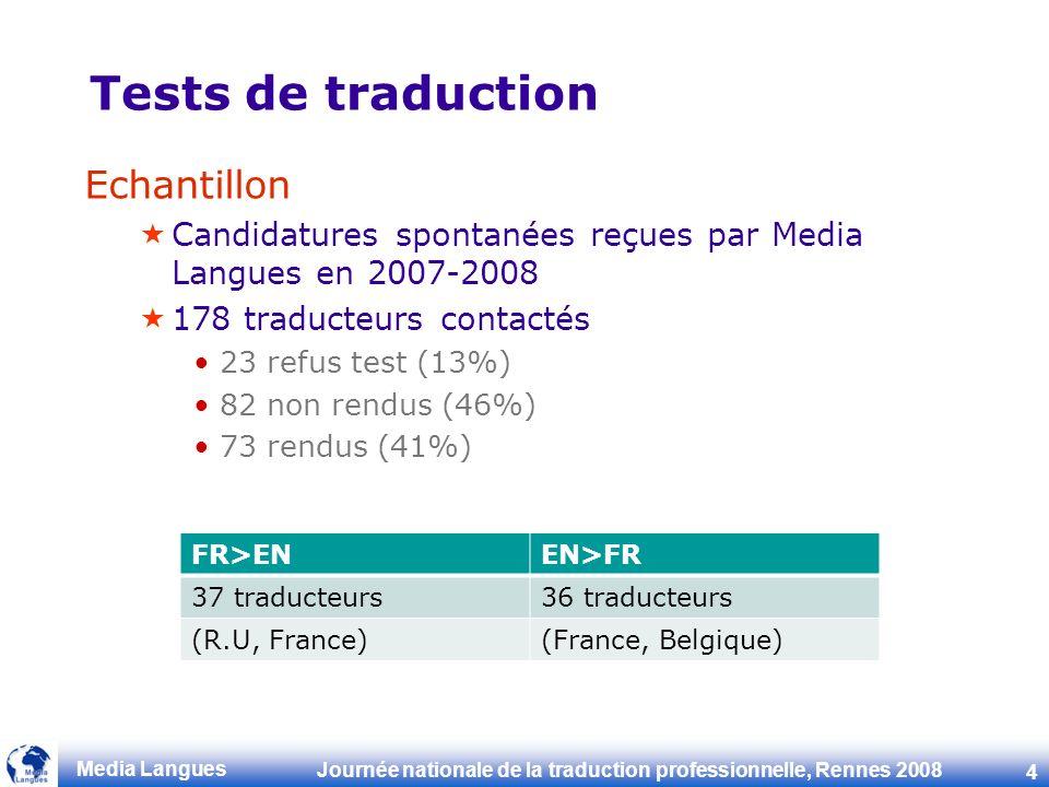 Journée nationale de la traduction professionnelle, Rennes 2008 4 Media Langues Tests de traduction Echantillon Candidatures spontanées reçues par Media Langues en 2007-2008 178 traducteurs contactés 23 refus test (13%) 82 non rendus (46%) 73 rendus (41%) FR>ENEN>FR 37 traducteurs36 traducteurs (R.U, France)(France, Belgique)