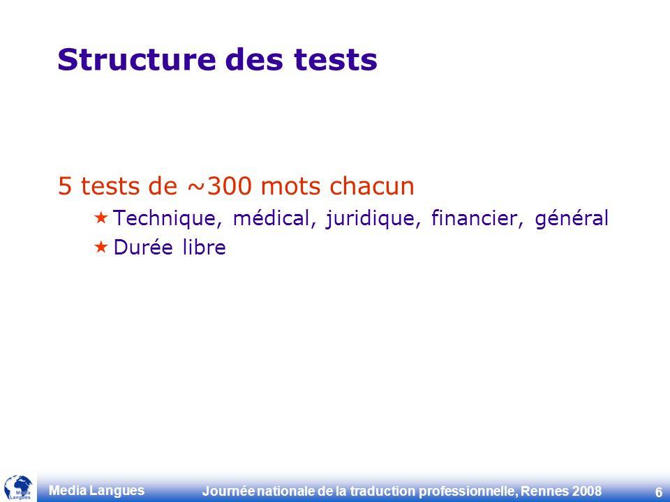 Journée nationale de la traduction professionnelle, Rennes 2008 6 Media Langues Structure des tests 5 tests de ~300 mots chacun Technique, médical, juridique, financier, général Durée libre